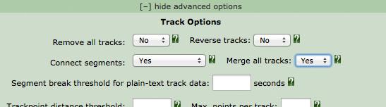 GPX advanced settings for Garmin